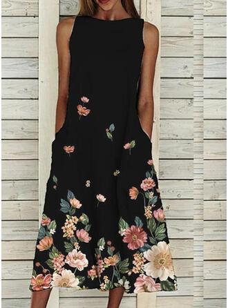 Print/Floral Sleeveless Shift Tank Casual Midi Dresses