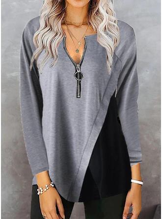 Color Block V-Neck Long Sleeves Raglan Sleeve Casual Blouses