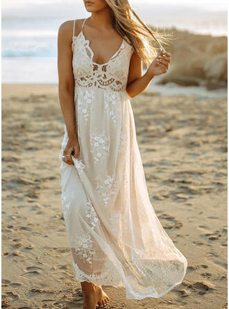 Lace/Solid/Backless Sleeveless A-line Skater Casual/Vacation Maxi Dresses