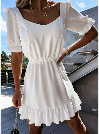 Solid Short Sleeves/Puff Sleeves A-line Above Knee Casual Skater Dresses