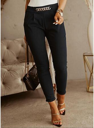 Couleur Unie Tondu Grande taille Bureau / Affaires chains Pantalon
