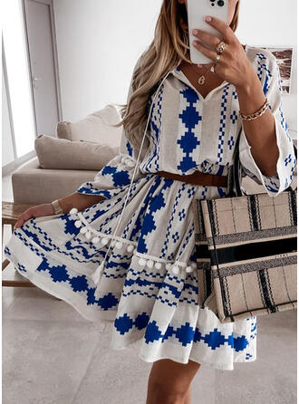 Print 3/4 Sleeves/Flare Sleeves A-line Above Knee Casual Skater Dresses