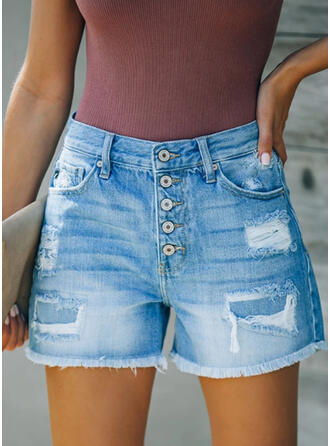 Shirred Ripped Casual Shorts Denim & Jeans