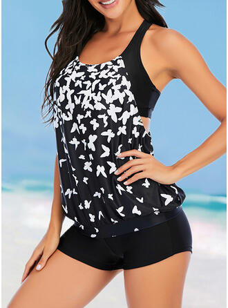 Gradient Strap U-Neck Elegant Attractive Casual Tankinis Swimsuits