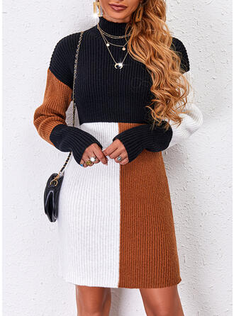 Print/Color Block Long Sleeves Dropped Shoulder Sheath Above Knee Casual Sweater Dresses