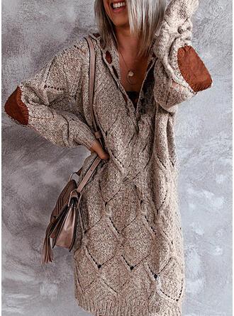 Bloque de Color Cuello en V Casuales Largo Vestido de Suéter