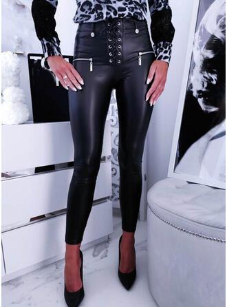 Couleur Unie PU Longue Grande taille Bureau / Affaires Poche dentelle up Boutons Pantalon