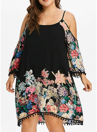 Plus Size Floral Print Long Sleeves Shift Knee Length Casual Vacation Dress