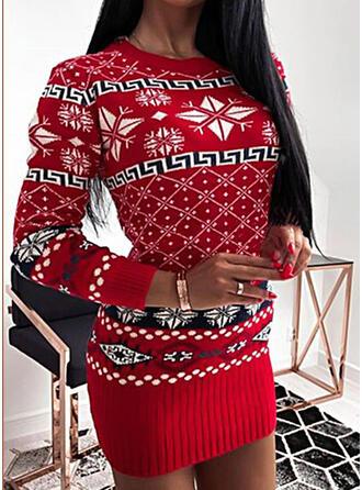Natal Estampado Gola Redonda Casual Suéteres
