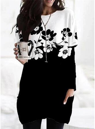 Print Color Block Floral Round Neck Long Sleeves Sweatshirt