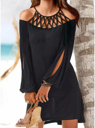 Solid Long Sleeves/Split Sleeve Shift Above Knee Casual Tunic Dresses