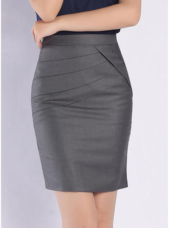 Polyester Plain Above Knee Bodycon Skirts