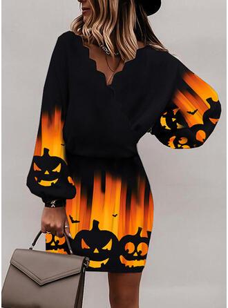 Halloween Print/Animal Long Sleeves Bat Sleeve Bodycon Above Knee Party Dresses