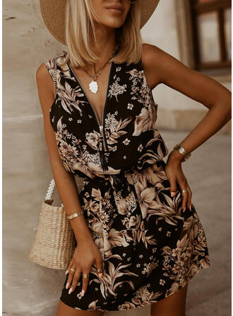 Floral Sleeveless Above Knee Vacation Dresses