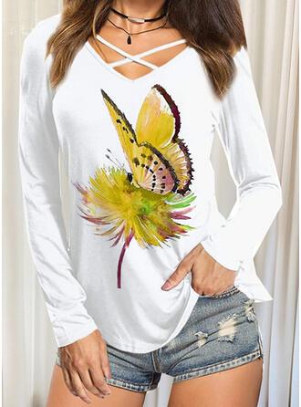 borboleta Decote em V Manga Comprida Camisetas