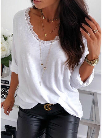 Lace Solid V-Neck Long Sleeves T-shirts