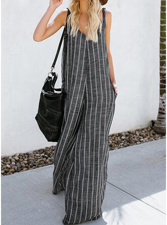 Striped Strap Sleeveless Casual Jumpsuit