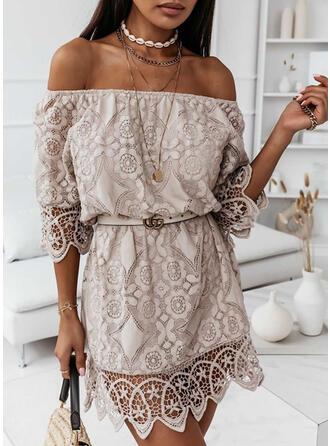 Lace 3/4 Sleeves Cold Shoulder Sleeve Above Knee Casual/Elegant Dresses