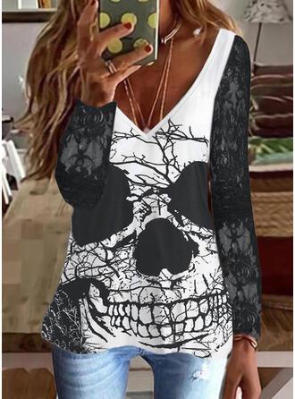 Halloween Imprimé Col V Manches Longues T-shirts