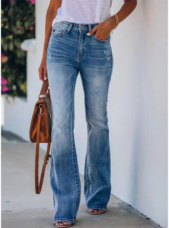 Pockets Shirred Long Elegant Sexy Denim & Jeans