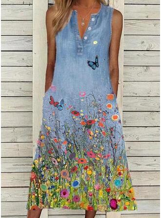Print/Floral/Animal Sleeveless Shift Casual Midi Dresses (199386204)