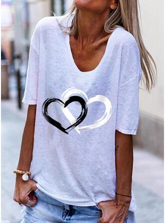 Heart Print V-Neck 1/2 Sleeves T-shirts