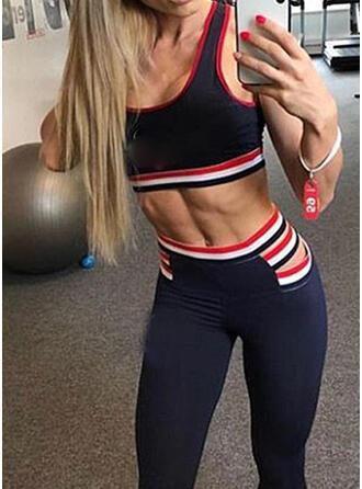 U-Neck Sleeveless Striped Sports Leggings Sports Bras Yoga Sets