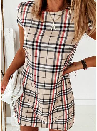 Plaid Short Sleeves Shift Knee Length Elegant Dresses