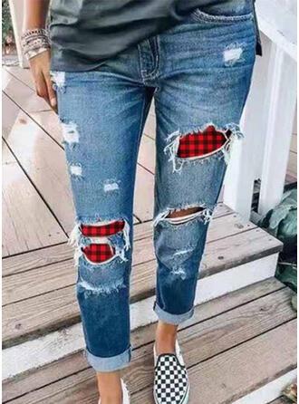 Xadrez Tamanho grande Rasgada Natal Casual Magro Jeans