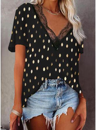 Print Lace V-Neck Short Sleeves Elegant Blouses