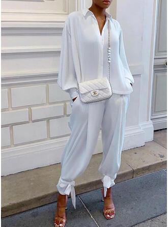 Sólido Elegante Casual Tamanho positivo blusa & Roupas de Duas Peças Set ()