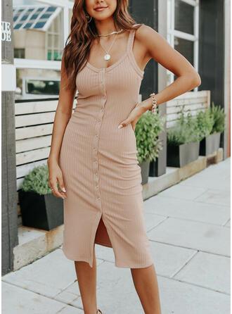 Solid Sleeveless Bodycon Sexy/Party Midi Dresses