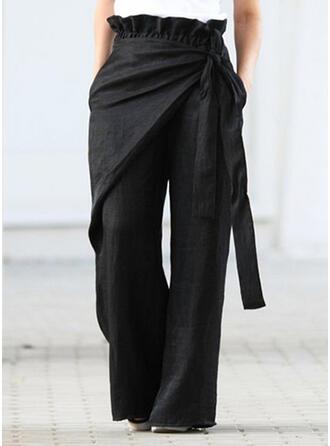 Patchwork Plus Size Bowknot Long Casual Elegant Pants