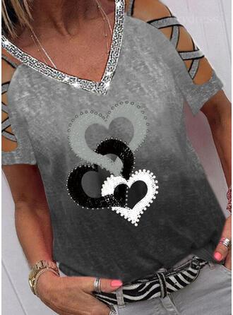 Print Sequins Gradient Heart Cold Shoulder Short Sleeves Casual Blouses