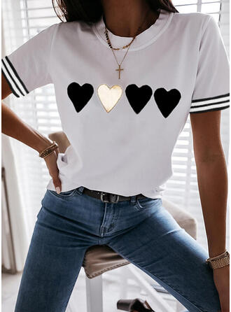 Heart Print Striped Cotton Round Neck Short Sleeves T-shirts