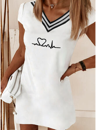 Print/Striped/Heart/Letter Short Sleeves Shift Above Knee Casual T-shirt Dresses