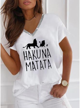 Animal Print Sequins Letter V-Neck Short Sleeves T-shirts