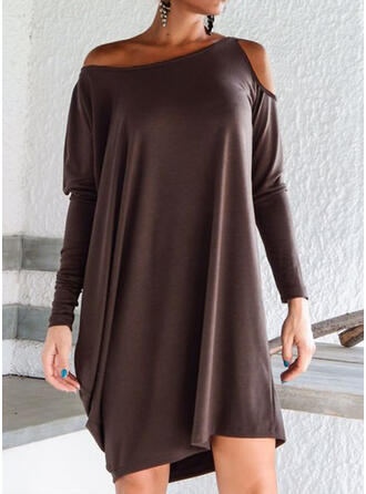 Long Sleeves Dropped Shoulder Asymmetrical Above Knee Casual Dresses