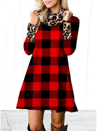 Tela escocesa/Leopardo Manga Larga Vestidos sueltos Sobre la Rodilla Casual Túnica Vestidos
