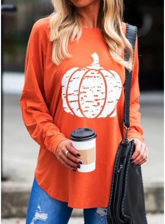 Halloween Estampado Gola Redonda Manga Comprida Camisetas