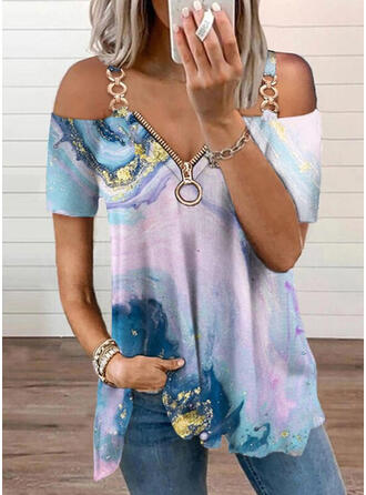 Estampado Ombro Frio Manga Curta Camisetas