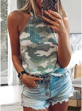 Camouflage Print Round Neck Sleeveless Tank Tops