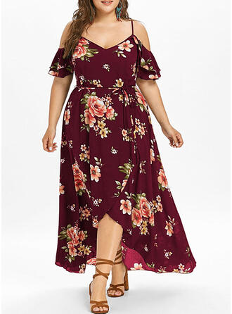 Plus Size Floral Print Cold Shoulder Sleeve Short Sleeves A-line Asymmetrical Casual Vacation Dress