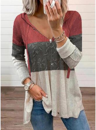 Print Color Block Hooded Long Sleeves Sweatshirt