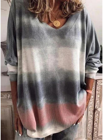Tie Dye V-Neck Long Sleeves Casual Knit Blouses