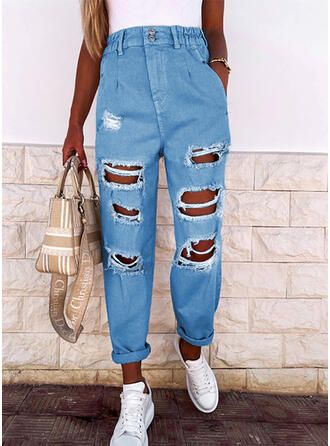 Solid Denim Long Casual Pocket Shirred Ripped Denim & Jeans