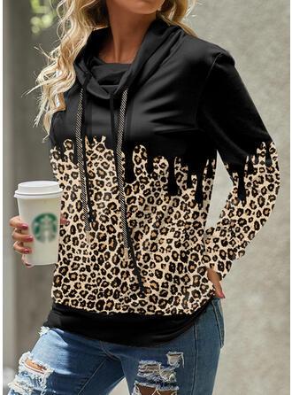 Leopard High Neck Long Sleeves Sweatshirt