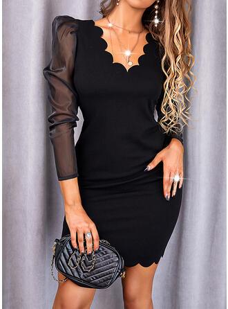 Solid Long Sleeves Puff Sleeve Bodycon Above Knee Little Black/Elegant Dresses