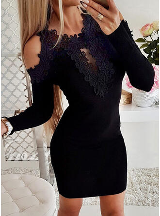 Sólido Encaje Manga Larga manga de hombros fríos Ajustado Sobre la Rodilla Pequeños Negros/Casual Suéter Vestidos