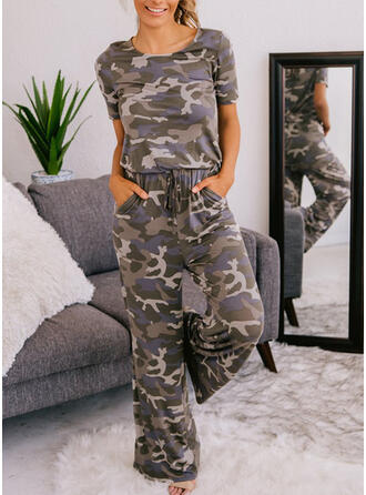 Print Round Neck Short Sleeves Casual Jumpsuit